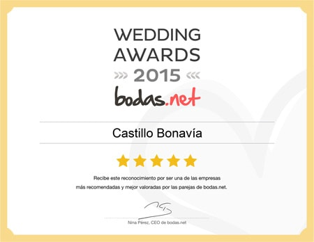 Castillo Bonavía, ganador Wedding Awards 2015 Bodas.net