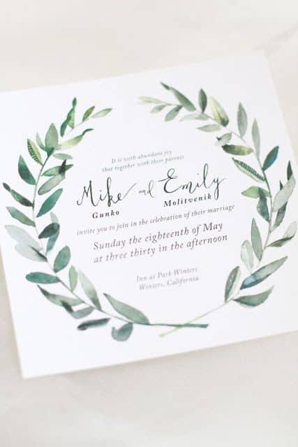 invitaciones de boda con hojas de olivo