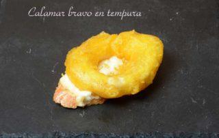 Aperitivos de boda. Calamar bravo en tempura