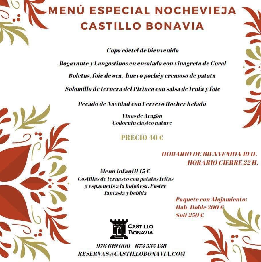 Menú Nochevieja 2020 en Castillo Bonavía